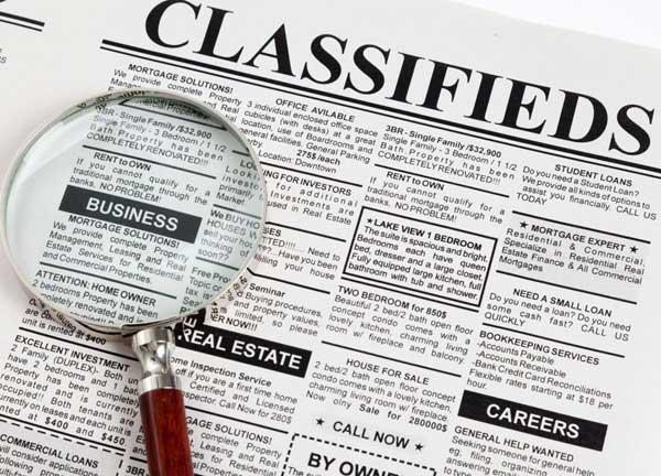 Classified Newspaper Ads Aar Kay Ad